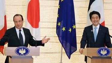 François Hollande et Shinzo Abe lors de leur conférence de presse commune