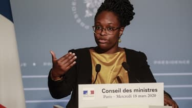 La porte-parole du gouvernement Sibeth Ndiaye, le 18 mars 2020 à l'Elysée