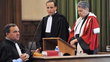 A gauche, Me Francis Szpiner, l'avocat de la famille d'Anès Marin, aux assises de Haute-Loire.