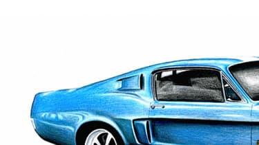 Un dessin du futur modèle, une réplique de la Shelby GT500, qui sortira l'été prochain.