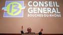 Jean-Noël Guérini, président du conseil général des Bouches-du-Rhône, après sa réélection, fin mars. La police a mené plusieurs perquisitions mardi, dont une à l'hôtel du département, dans le cadre de l'enquête sur des marchés publics présumés frauduleux.