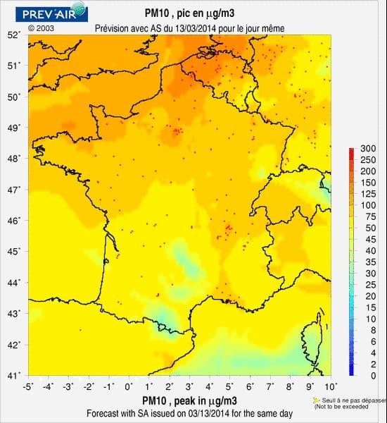 La carte du jour de la pollution aux particules inférieures à 10 microns ou 10 PM
