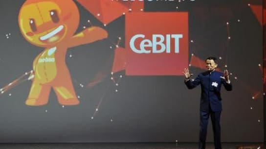 Jack Ma a pris la parole quelques minutes après le discours d'Angela Merkel, en ouverture du salon Cebit de Hanovre, le plus important rendez vous mondial de la high tech.