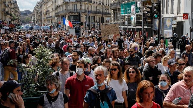 Une des manifestations contre le pass sanitaire à Paris le 31 juillet 2021