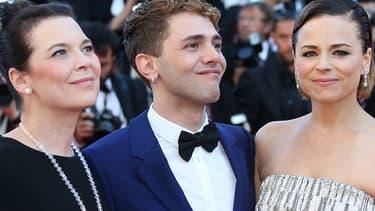 """Anne Dorval, Xavier Dolan et Suzanne Clément présentant le film """"Mommy"""" à Cannes en mai 2014."""