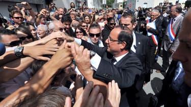François Hollande lors de son déplacement à La Roche-sur-Yon le 6 août 2013.