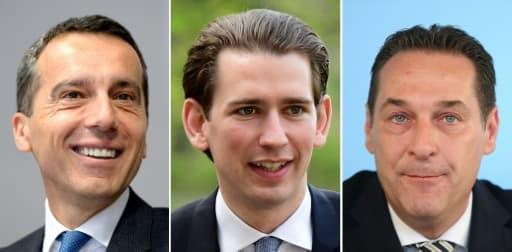 Portraits de gauche à droite du chancelier social-démocrate Christian Kern, du conservateur Sebastian Kurz et du chef de l'extrême droite Heinz-Christian Strache