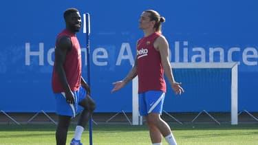 Samuel Umtiti et Antoine Griezmann à la reprise de l'entraînement du Barça le 23 juillet