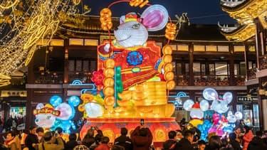 Une lanterne rat à Shanghai à l'occasion du Nouvel An chinois en janvier 2020