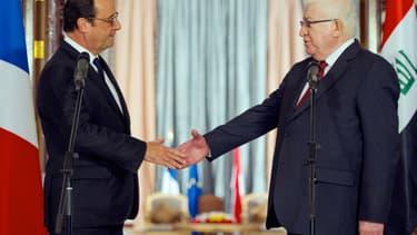 François Hollande et le président irakien Fouad Massoum le 12 septembre 2014, à Bagdad.