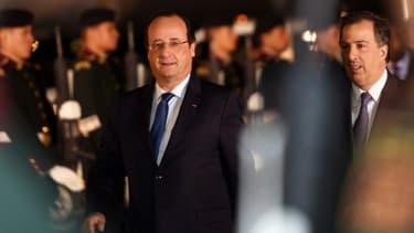 François Hollande et le ministre mexicain des affaires étrangères, Antonio Meade, le 10 avril 2014.