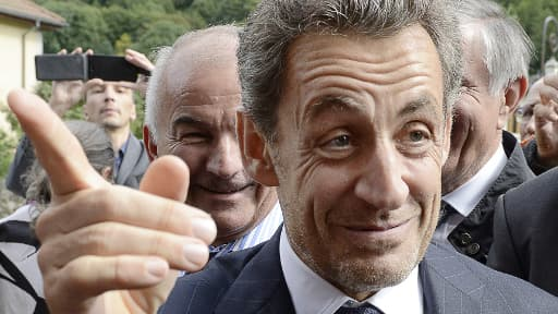 L'ex-président de la République Nicolas Sarkozy le 18 septembre au Petit-Bornand-les-Glières.