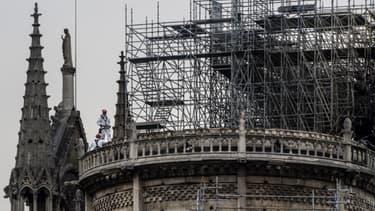 L'échafaudage sur Notre-Dame de Paris.