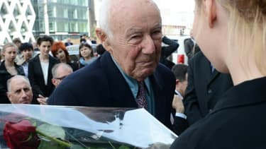 """Simcha Rotem, dit """"Kazik"""", lors d'une visite à Varsovie le 18 avril 2013. Dernier combattant juif d ela révolte du ghetto de Varsovie contre les nazis en 1943, Il s'est éteint à l'âge de 94 ans en Israël"""