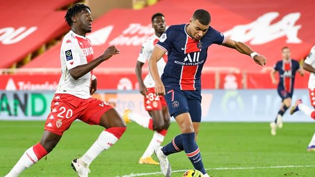 Axel Disasi et Kylian Mbappé, à Monaco le 20 novembre 2020