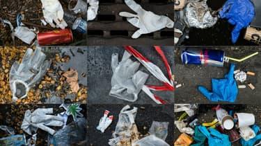 Plusieurs photos de gants de protection avec d'autres déchets par terre dans les rues de Paris, le 29 mars 2020