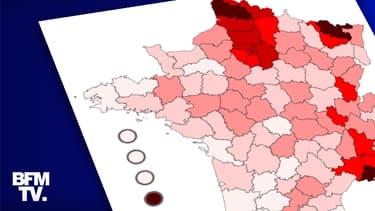 Le taux d'incidence hebdomadaire par département au 23 février 2021