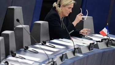 Marine Le Pen au Parlement européen, le 26 octobre 2016 à Strasbourg.
