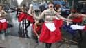 """Les Femen à Paris protestent contre la manifestation """"Jour de colère""""."""