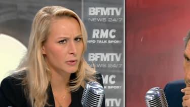 Marion Maréchal-Le Pen face à Jean-Jacques Bourdin mardi matin sur BFMTV et RMC.