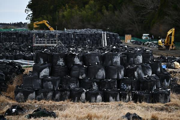Des sacs contenant des éléments de sol contaminés déposés dans un champ de Tomioka, dans la préfecture de Fukushima, au nord de la centrale nucléaire, le 29 février 2020