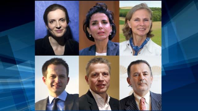 Les candidats à la primaire UMP pour briguer la mairie de Paris en 2014. NKM, Rachida Dati, Douce de Franclieu, Pierre-Yves Bournazel, Franck Margain, Jean-Francois Legaret.