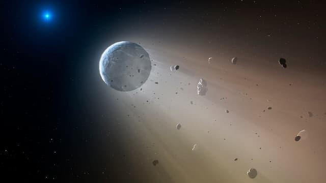 Vue d'artiste de la désintégration d'une planète à l'approche de son étoile.