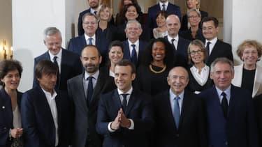 La première équipe gouvernementale, le 18 mai 2017 à l'Elysée.