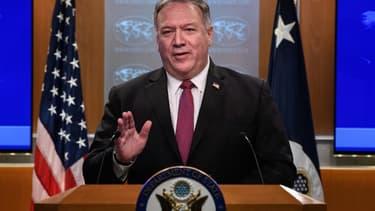 Le secrétaire d'Etat américain Mike Pompeo lors d'une conférence de presse à Washington, le 21 octobre 2020