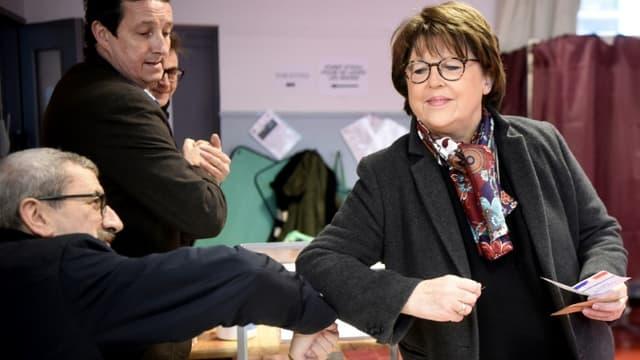Martine Aubry, le 15 mars 2020 à Lille lors du premier tour des élections municipales