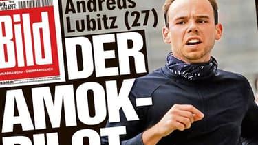 """Andreas Lubitz fait la une de """"Bild"""" au lendemain des révélations sur le crash. Le jeune homme souffrait de dépression et de problèmes de vue."""