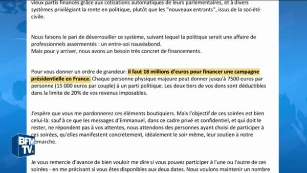 Extrait d'un mail envoyé par un membre de la garde rapprochée d'Emmanuel Macron.