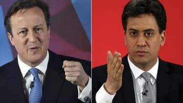 Montage de deux portraits du Premier ministre David Cameron et du chef des travaillistes Ed Miliband