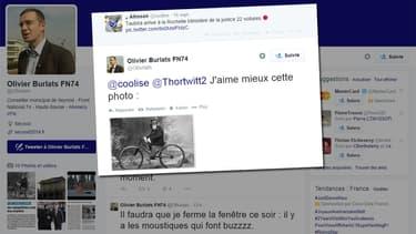 Le profil Twitter d'Olivier Burlats, élu FN de Haute-Savoie.