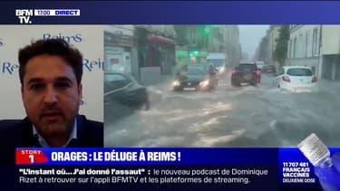 """Arnaud Robinet, maire de Reims: """"Deux mois de pluie sont tombés en quelques minutes"""""""