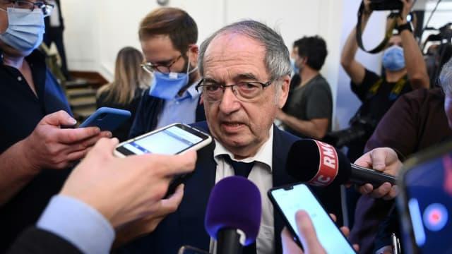 Le président de le Fédération française de football (FFF) Noël Le Graët, répond aux questions des journalistes, après l'élection du nouveau président de la Ligue de Football Professionnel (LFP), le 10 septembre 2020 à Paris