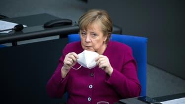 Angela Merkel au Bundestag à Berlin, le 25 mars 2021, avant le sommet européen