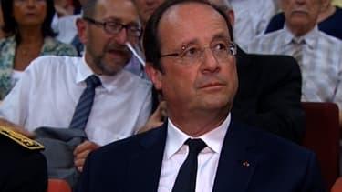 """François Hollande en visite à Tulle pour rendre hommage aux """"99 pendus de Tulle"""" le 9 juin 2014."""