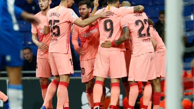 La joie du Barça après le but de Dembélé