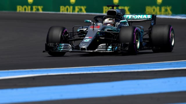 Lewis Hamilton, ce vendredi, sur le circuit Paul-Ricard du Castellet (Var), pour le retour du Grand Prix de France, après 10 ans d'absence.