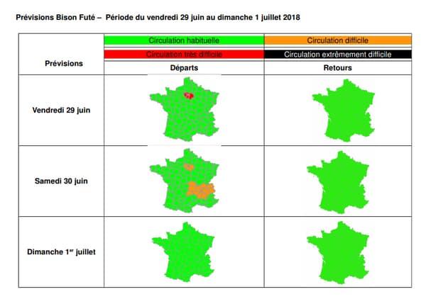 Les prévisions de trafic pour les 29, 30 juin et le 1er juillet.