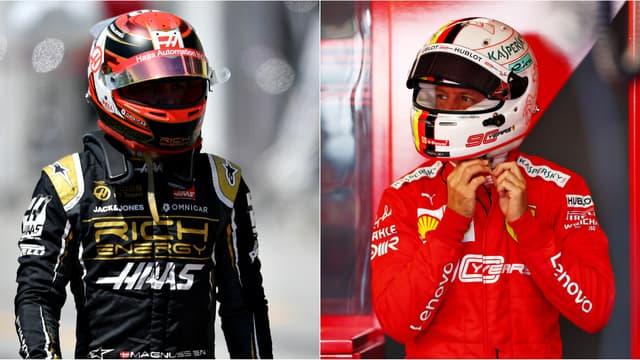 Kevin Magnussen (Haas) et Sebastian Vettel (Ferrari)