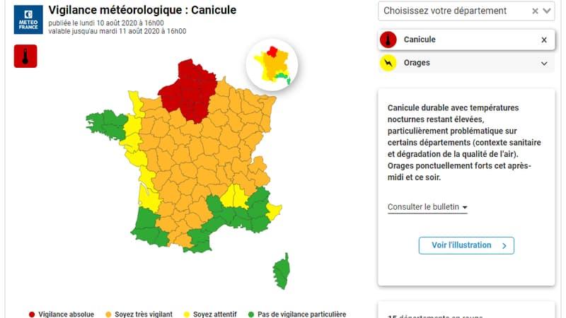 Canicule: 15 départements maintenus en vigilance rouge, 54 en orange
