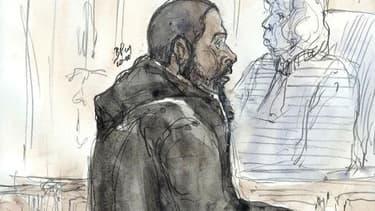 Dessin d'audience de Peter Chérif, à la barre du tribunal de Paris en janvier 2011.
