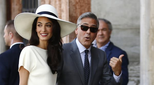 George et Amal Clooney lors de leur mariage, à Venise en avril 2015.