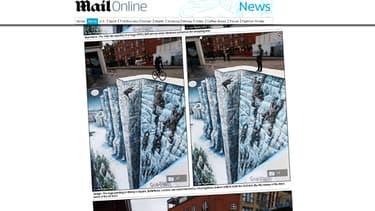 """Le Mur de """"Game of Thrones"""" peint sur le sol de Londres, en 3D."""