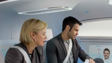 """L'intérieur du concept de véhicule autonome de Mercedes F015 en mode """"salon""""."""