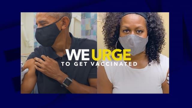 Barack et Michelle Obama se faisant vacciner, dans un clip publicitaire pour la vaccination