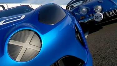 Les nez d'une berlinette Alpine A110 des années 60 et du concept Alpine Celebration de 2015.
