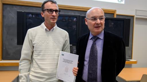 Le professeur François Bochud, directeur de l'Institut de radiophysique et le professeur Patrice Mangin, directeur du Centre universitaire romand de médecine légale, le 7 novembre 2013 à Lausanne.